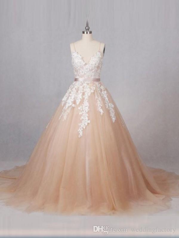Vintage Champagne Bröllopsklänning Spaghetti Straps Pärlor Sequins Lace Appliques Tulle Zipper upp Bridal-klänningar med sash och tåg