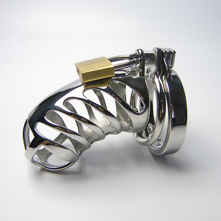 Último diseño Masculino Acero inoxidable Cock Penis Cause con anillo antideslizante Dispositivo de correa de castidad Adulto BDSM Producto Juguete sexual 948D