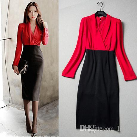 Großhandel Deep V Neck Party Kleider Patchwork Elegante Rote Kleid ...