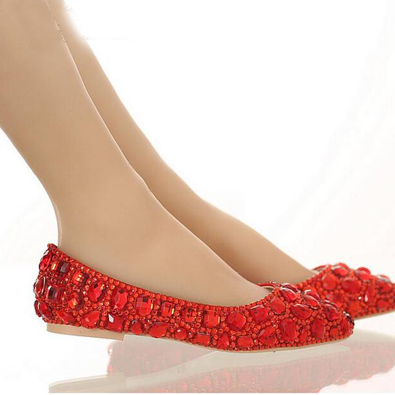 444839fb9f7 Flat Heel Pointed Toe Shoes Colorful Rhinestone Bride Shoes Flats Wedding  Bridal Shoes Silver Red Pink Color Party Dancing Shoes Wedge Heels Online  White ...