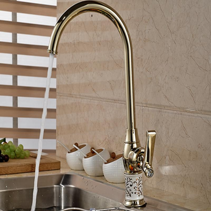 2018 Wholesale And Retail Brand New Modern Golden Kitchen Faucet ...