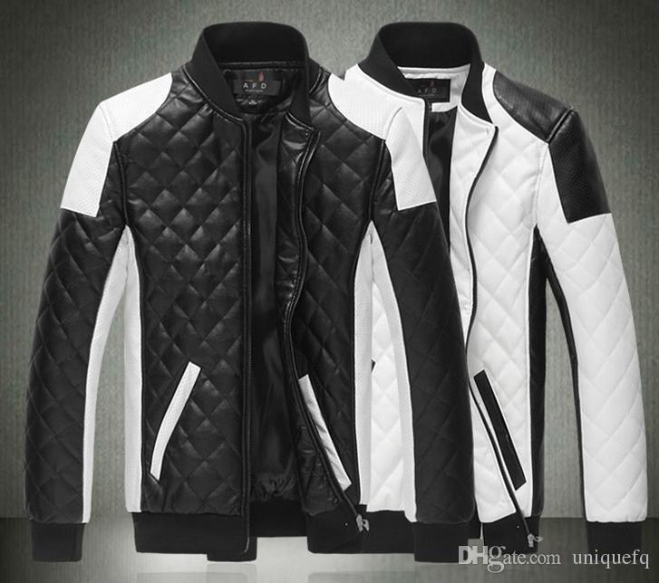 2017 Men Leather Jacket Plaid Pattern White Black Contrast Color ...