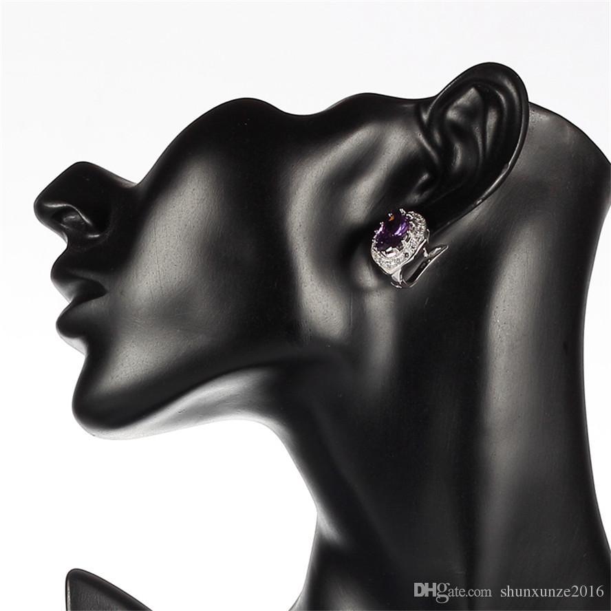 925 sterling silber Favorit Ohrringe Förderung Edle Großzügige Bestseller S-3753 Amethyst Zirkonia Shinning Zeit limitierter Rabatt