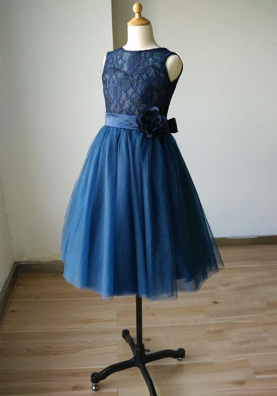 1759a28be3be Navy Blue Lace Sweetheart Tulle Keyhole Flower Girl Dress Tutu Kids  Children Junior Bridesmaid Dress With Navy Sash Detachable For Wedding