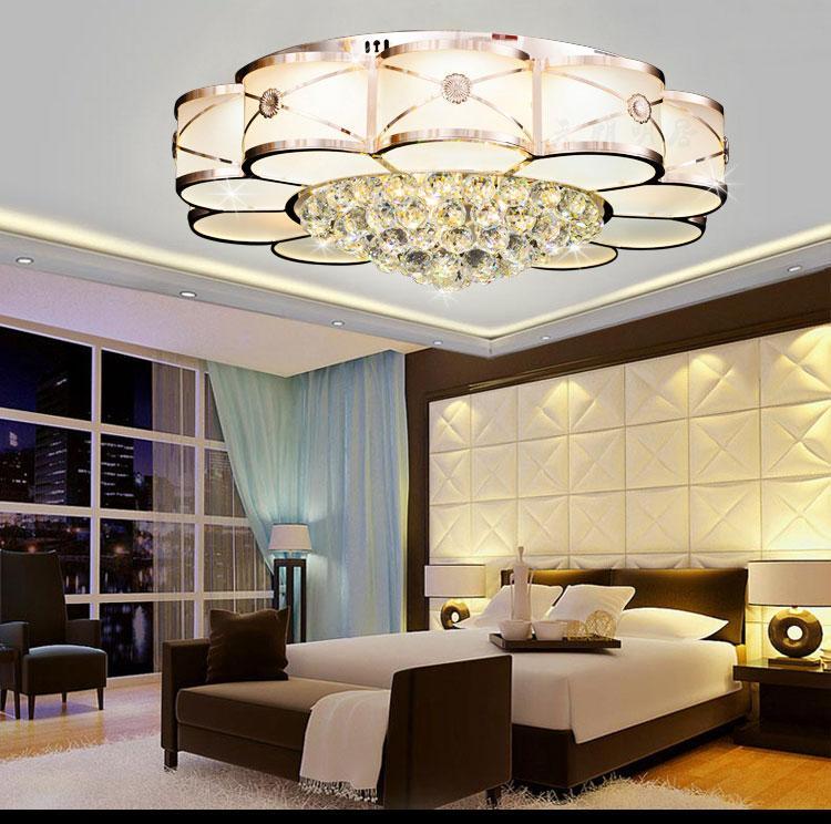 2018 Sale Modern Design Big Round Decorated Led Crystal Ceiling