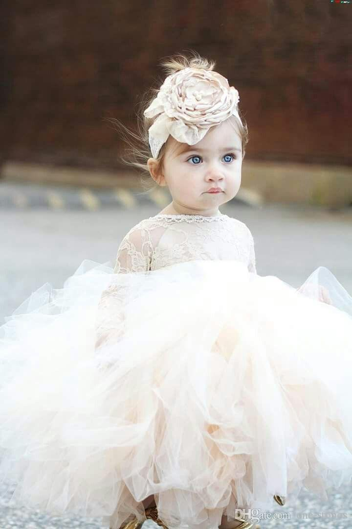 Güzel Toddler Çiçek Kız Elbise Düğün İçin Tül Puf Abiye Tutu İlk Communion Elbise Dantel Jewel Uzun Kollu Kızlar Pageant elbise
