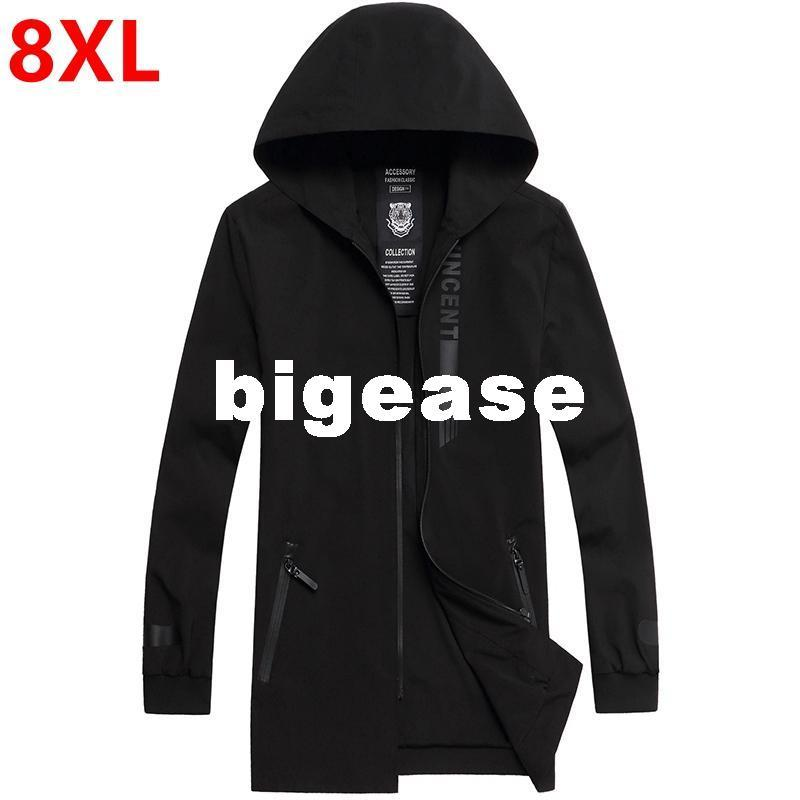 dc8765f063c Wholesale- New Spring Big Size Men s Hooded Windbreaker Fat 8XL XXL Long Fat  Youth Casual Coat Big Coat Loose Tide Big Size Hooded Coat Big Coat Loose  Tide ...