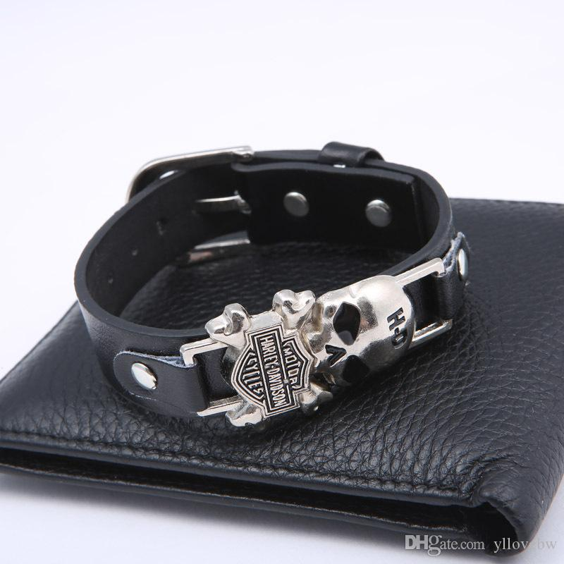 Skeleton Skull Punk Bracelet Black Leather Bracelets Bangles For Women Men Vintage Silver Jewelry Male Accessories