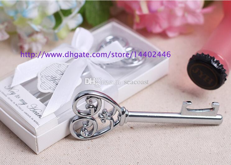 Key to My Heart Simply Elegant victorian wine bottle opener Barware Tool wedding Party favor gift Silver With White Retail Box