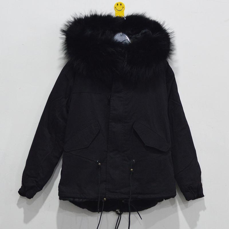 2017 Mr&Mrs Furs Lined Parka Black Fur Women Canvas Parka Coat ...