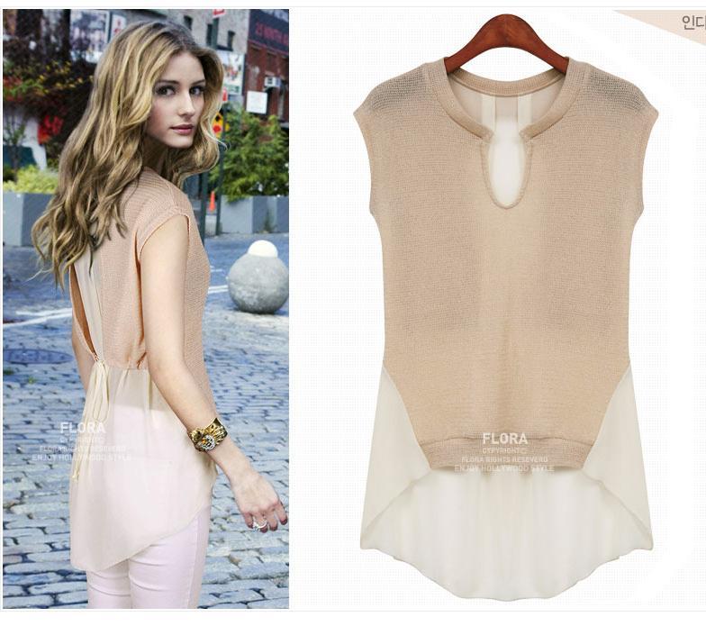 2018 Elegant Chiffon Loose Shirts Women Blouses Sleeveless Summer ...