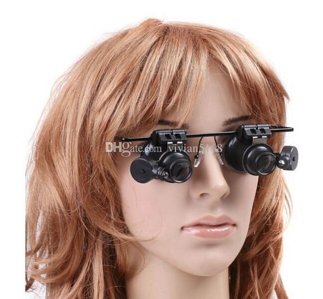 Venta al por menor 20X gafas de aumento de la lupa del joyero lente de la lupa herramientas de reparación de reloj de luz LED que lucen con la batería 9892A envío gratis