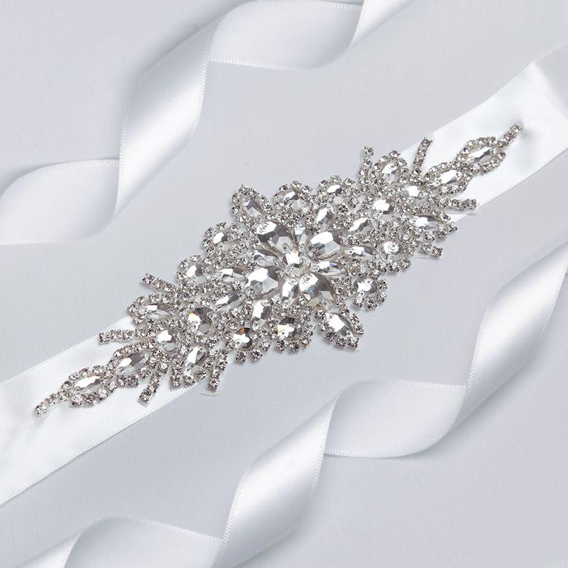Wunderschöne Hochzeitsgurte Funkelnde Perlen Kristall lange Hochzeitsschärpen weiße Brautschärfe Neue Ankunft Zubehör L-092