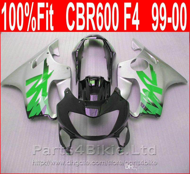 Beauty Body parts Injection molding for Honda CBR 600 F4 Green silver custom fairings 1999 2000 fairing kit CBR600 F4 99 00 SEBZ