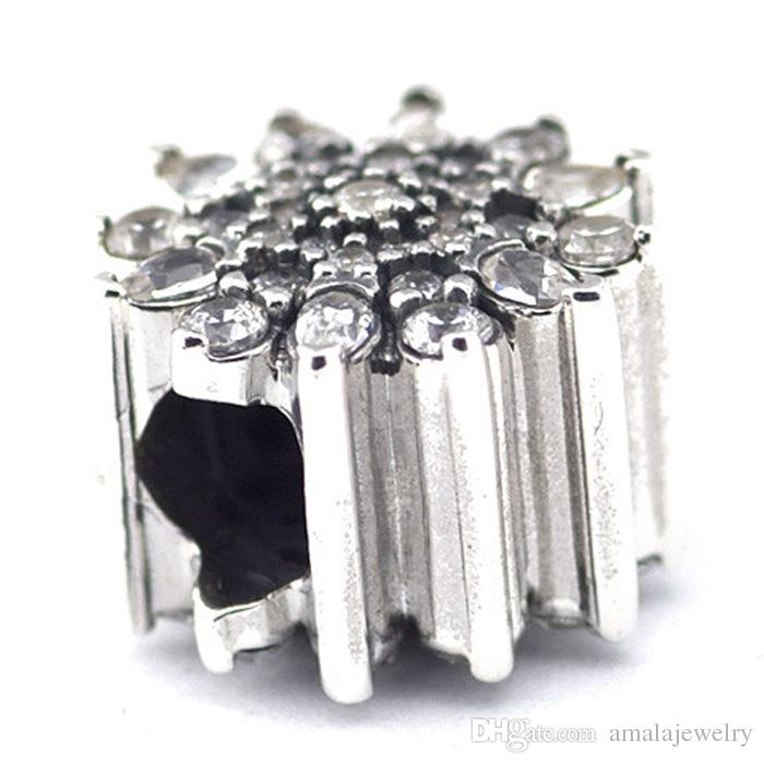 2015 Winter 925 Sterling Silver Ice Crystal Charm Bead with Clear Cz Fits European Pandora Jewelry Bracelets & Necklace