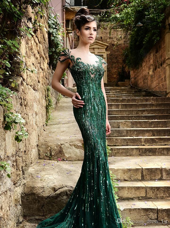 2015 Rami Salamoun Dresses Green Prom Dresses Mermaid Scoop Cap Sleeves Sheer Back Formal Gowns Luxury Crystal Beaded Evening Dresses