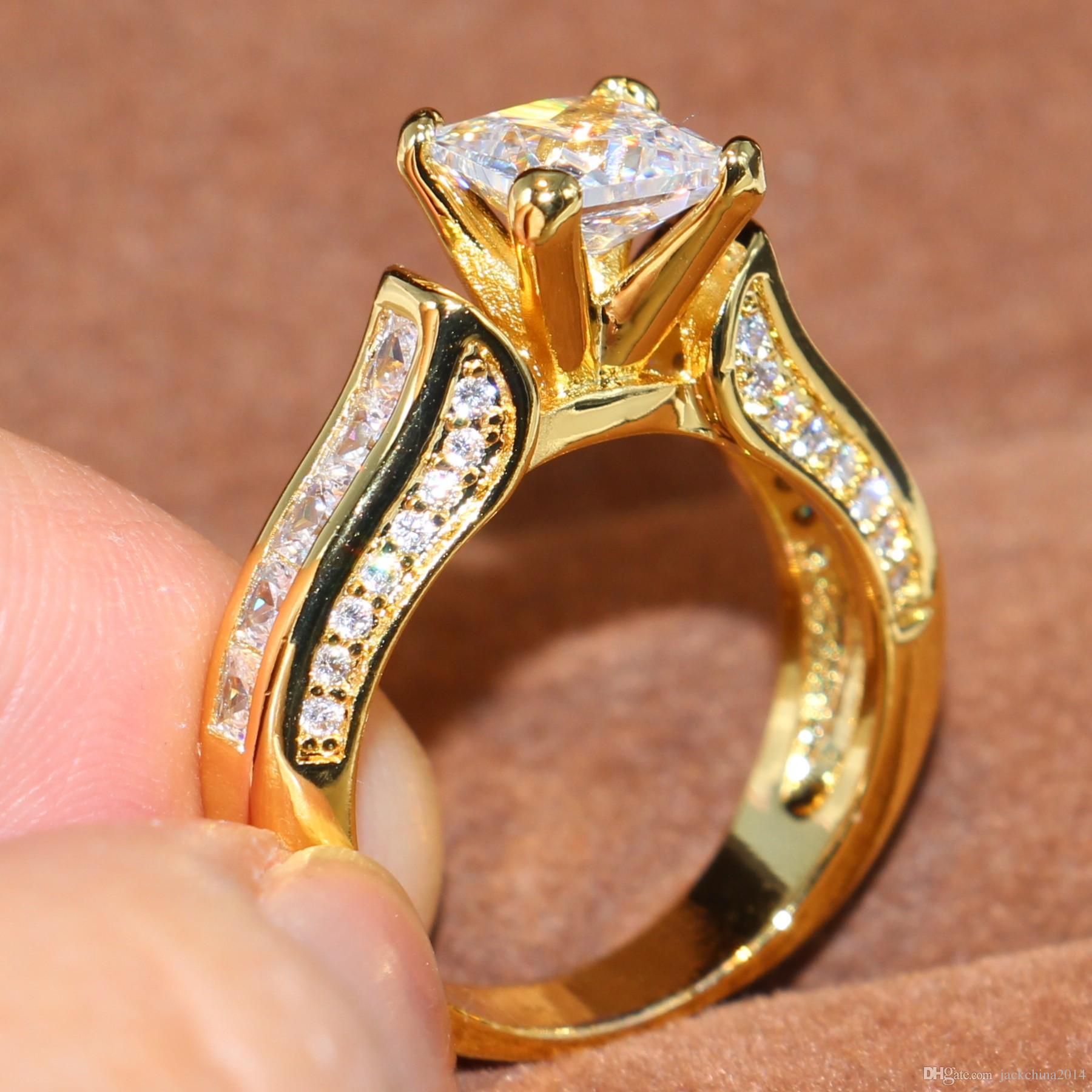 Size 5-11 Sparkling Fashion Jewelry Square 14KT Yellow Gold Filled Princess Cut White Topaz Party Gemstones CZ Diamond Women Wedding Ring