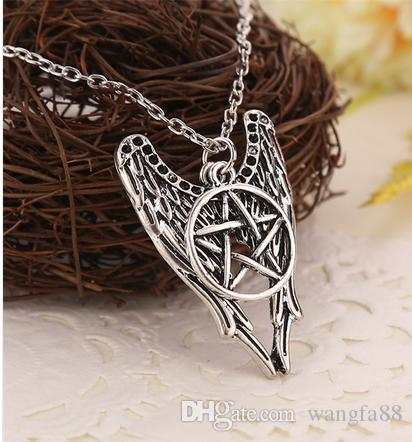 Supernatural necklace pentagram Pentacle Castiel angel wings vintage antique silver pendant jewelry for men and women wholesale