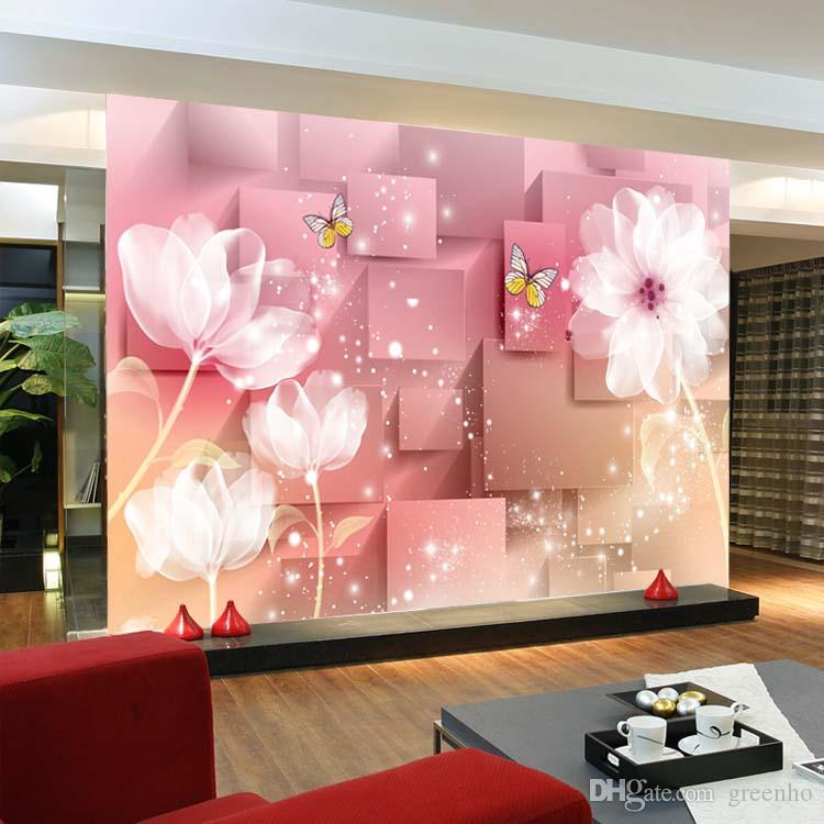 3D Murals Elegant 3D Photo Wallpaper White Lotus Wall Mural Silk