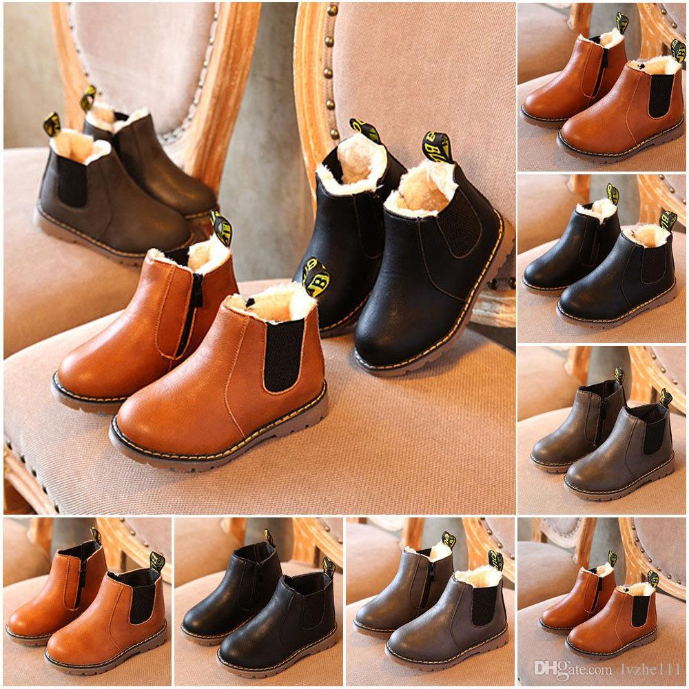 218c0cdb37add 2018 New Child Kids Boys Girls Winter Warm Fur Lined Shoes Ankle Boots  Chelsea Shoes Kids Shoes Boys Boots Fur Lined Online with  17.12 Piece on  Lvzhe111 s ...