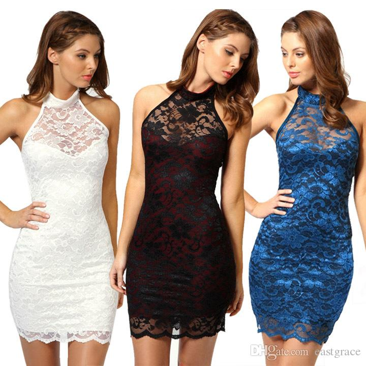Summer dresses for womens new sleeveless OL hanging neck sexy nightclub full lace dress Ladies Package buttocks dress