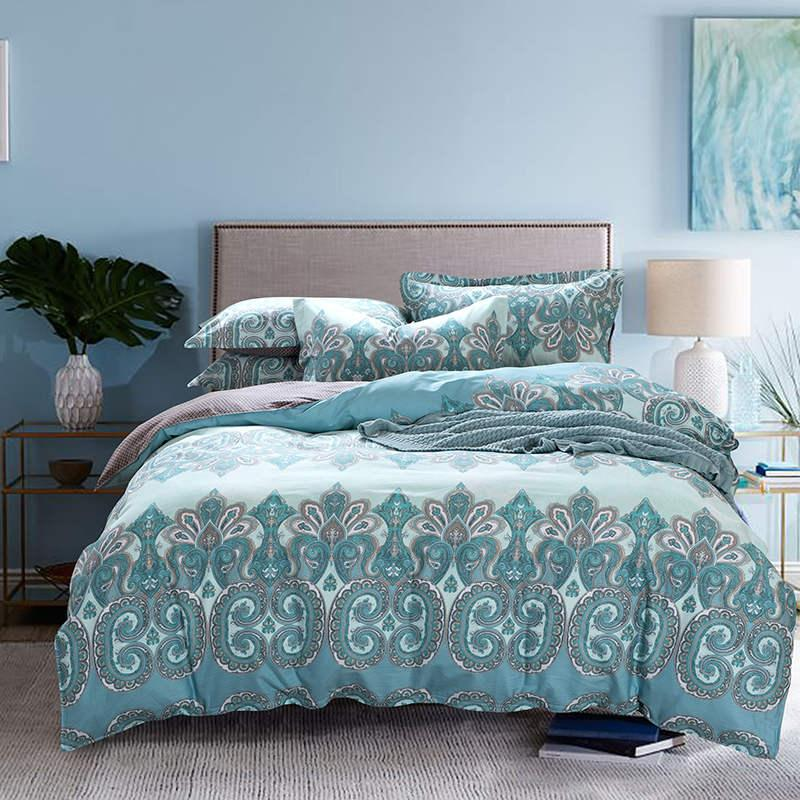 Great 2018 Bright Light Turquoise Color Paisley Print Bedding Set Full Queen Size Bed  Linens Cotton Comforter Duvet Cover Sheets 4 From Wmy2017, $271.33 | Dhgate.