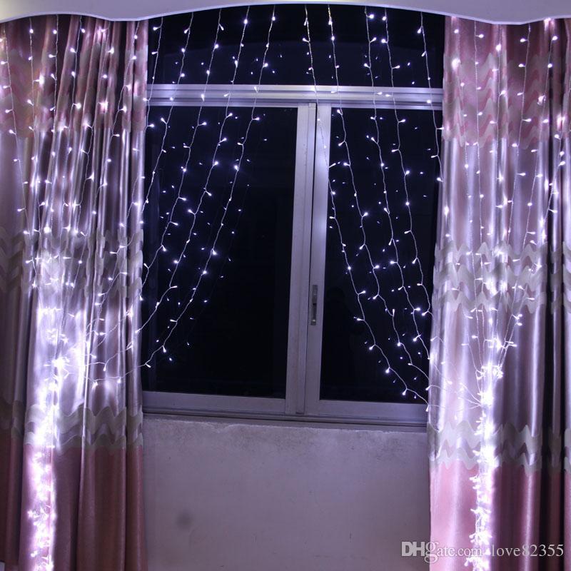 페어리 문자열 icicle 110-220V RGB 300 LED 3M x 3M LED 커튼 폭포 크리스마스 파티 Chistmas 장식 휴일 조명