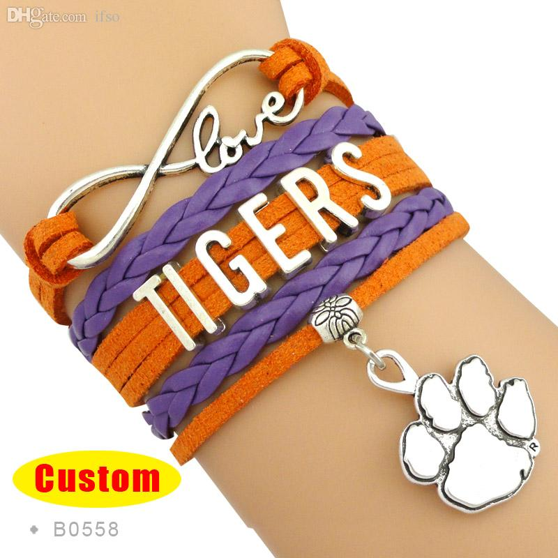 Infinity Love Bracelet Clemson Tigers Bills Browns Bracelet Orange Regalia Custom Any Styles Themes Drop Shipping