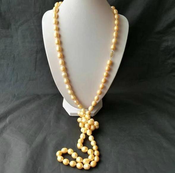 50-дюймовое натуральное 10-12-миллиметровое южно-морское золотое жемчужное ожерелье 14k золотая застежка