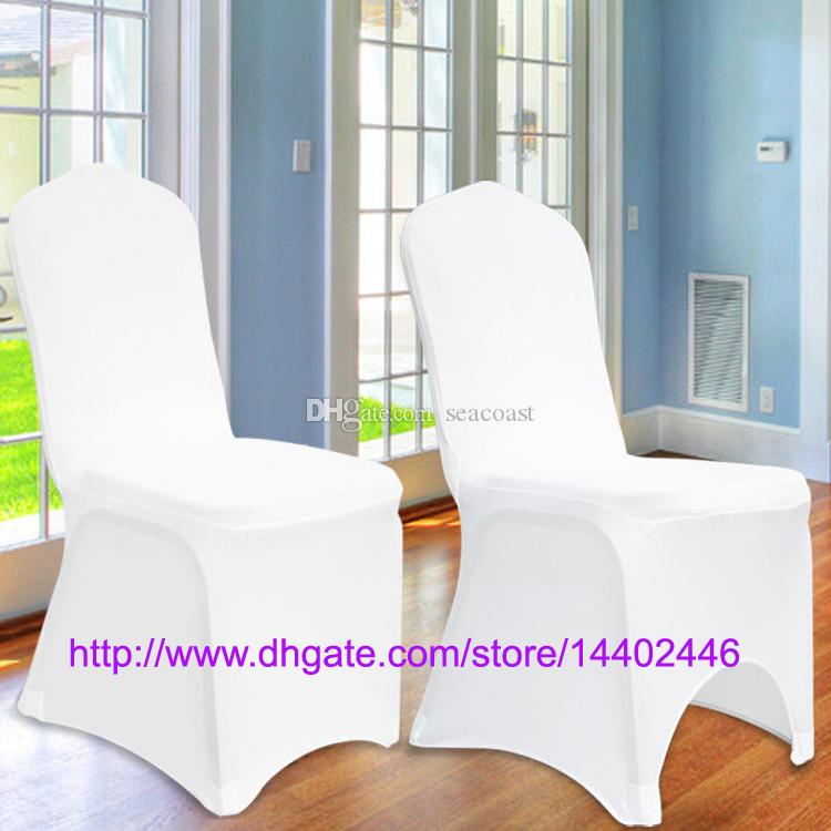 Livraison Gratuite Universel Blanc Spandex Mariage Lycra Couvre-Chaise pour Banquet De Mariage Hôtel Décoration Vente Chaude En Gros #