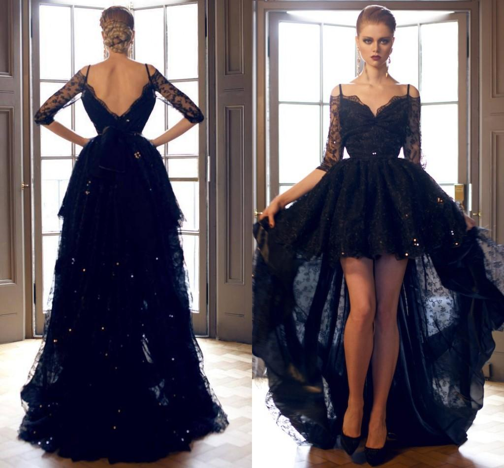 2016 Black Hi Lo Prom Dresses With Sleeves V Collar Overlay Lace ...