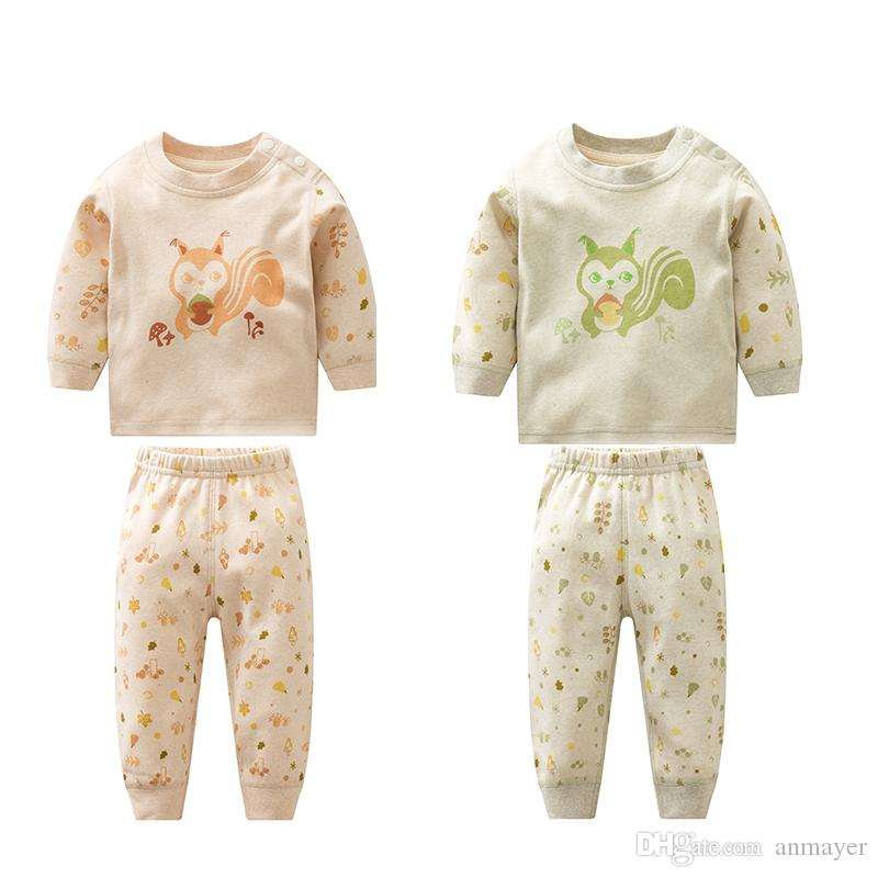 2018 0 36m Baby Suit Nature Colored Cotton Long Sleeve Round Neck