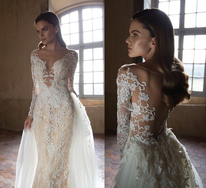 Tarik ediz 2015 sheath wedding dresses sheer bateau neck for Wedding dresses for small breasts