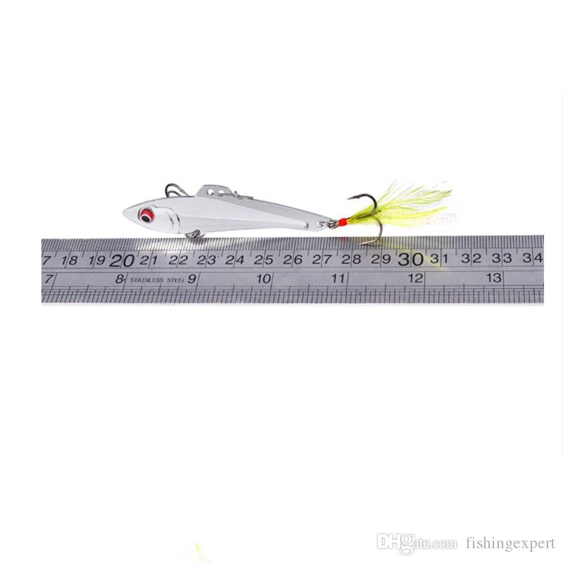 Gold Silver Metal Spoon Fishing Lure Combo 15g 20g Vibration Bass Fishing Baits Simulated VIB Hard Lure with Feather Hook