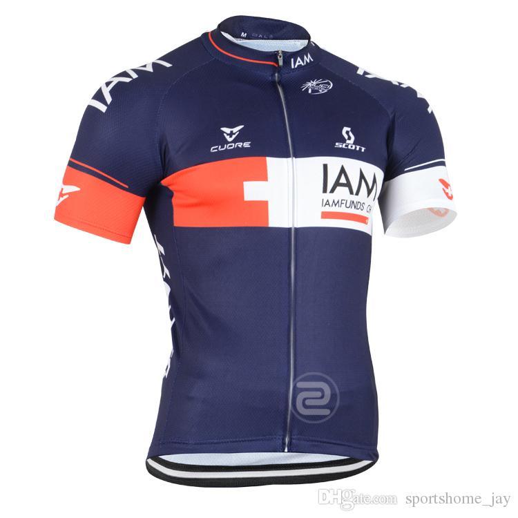 2015 IAM Pro Team Cykling Tröjor Ställ in Andningscykel Slitage Svart Färger för val Vintage Ull Kortärmad Cykling Jersey Storlek: S-3XL