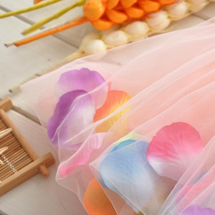 Vestido de verano para niñas pequeñas Flor de rosa pétalos de colores Gasa Bebé Tutu Vestidos Sin mangas Chaleco de los niños Vestido de princesa 2015 trajes TR101