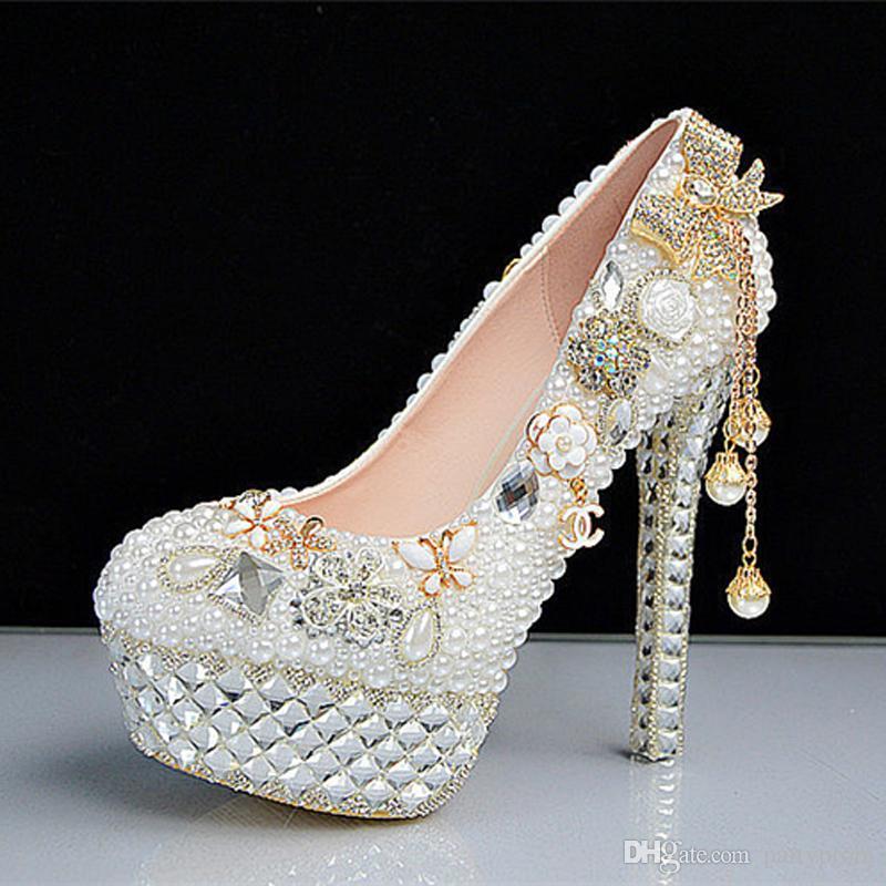 Nouvelle Mode Cristal Perle Chaussures De Mariage Ultra Talons Hauts Plateforme Blanc Robe De Mariée Formelle Robe Strass Chaussures Habillées