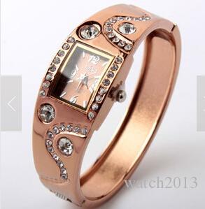 Gros-2014 New Hot Fashion Femmes Bracelet Bracelet Vague Strass Cristal Montres au poignet 05AT