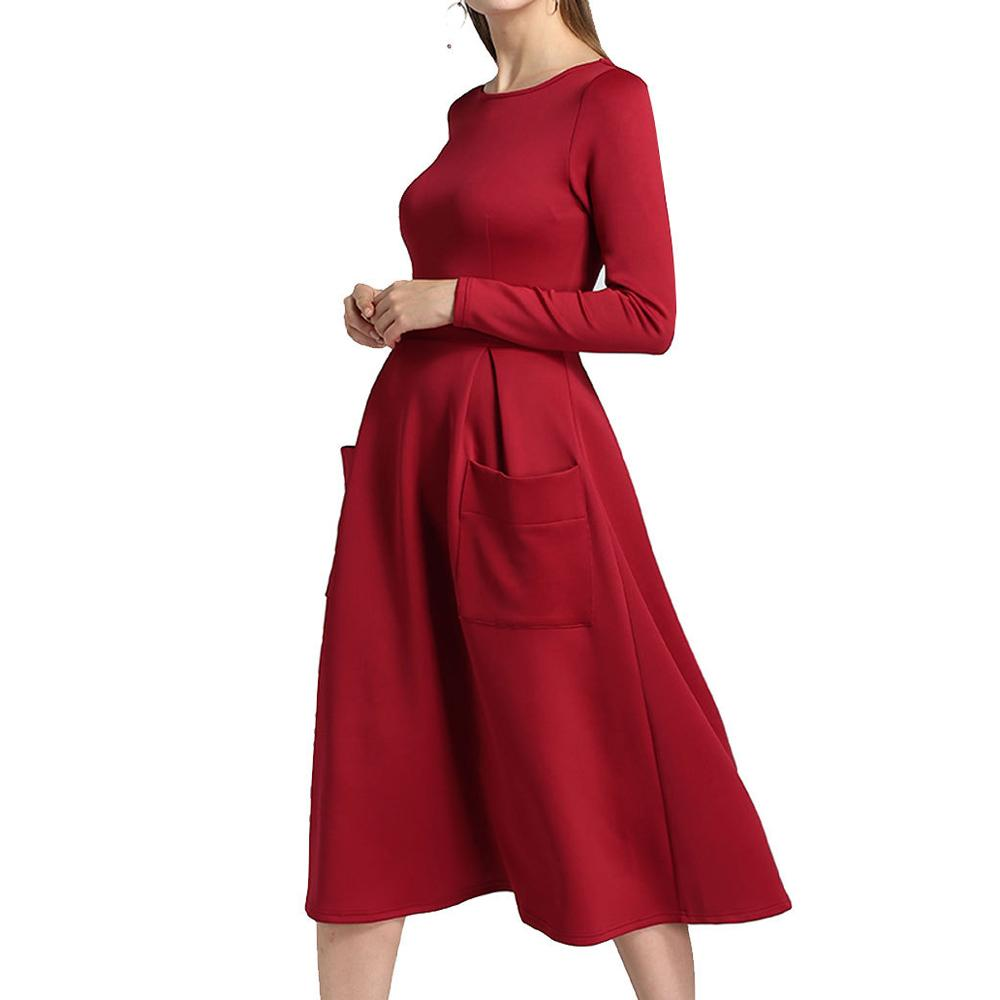9406218dfe4f Preself Elegant Vintage Women Fashion High Waist Long Sleeve Pleats Pockets  Big Swing Dress New Q171118 Women In Dresses White Dress For Sale From  Tai002