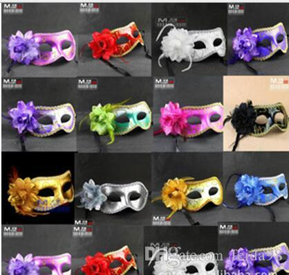 Fashion Women Sexy mask Hallowmas Venetian eye mask masquerade with flower feather Easter mask dance party holiday drop shipping
