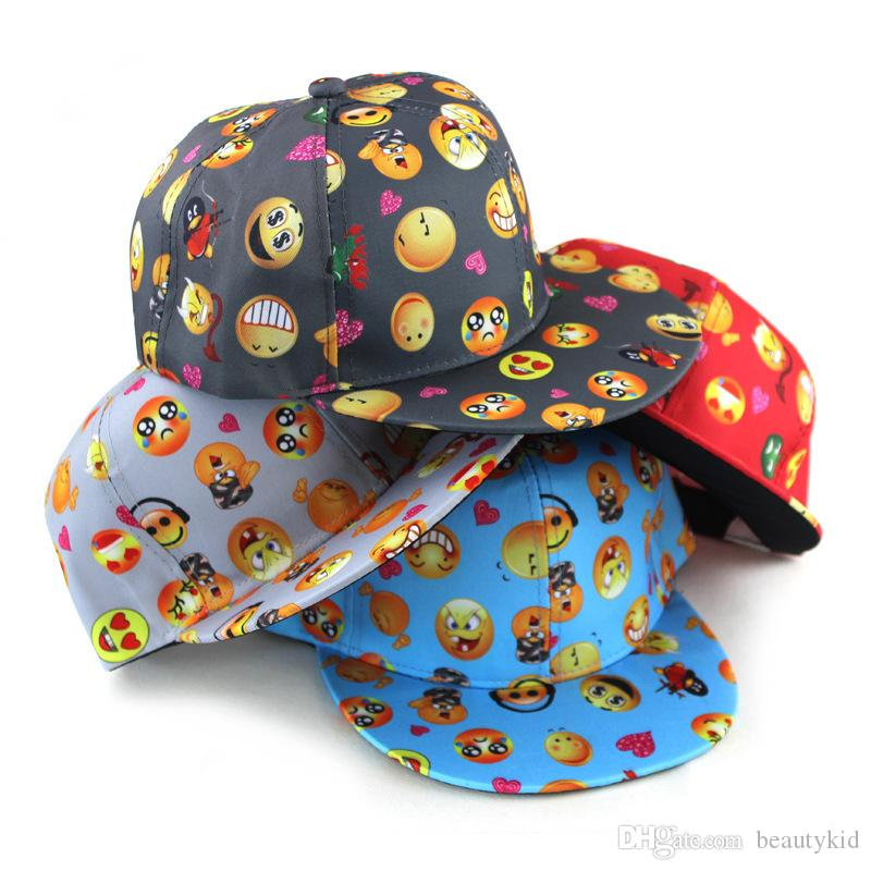 99f63cd24280 Children Cap Boys Girls Emoji Print Baseball Hat Snapback Adjustable Hip  Hop Cap Cute Emoji Hats By DHL EMJ024 Baseball Hat Hat Store From  Beautykid