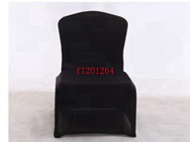 Fedex Livraison gratuite Chaise noire Spandex Covers Flat Front pour soirée de mariage Hôtel Décoration, /