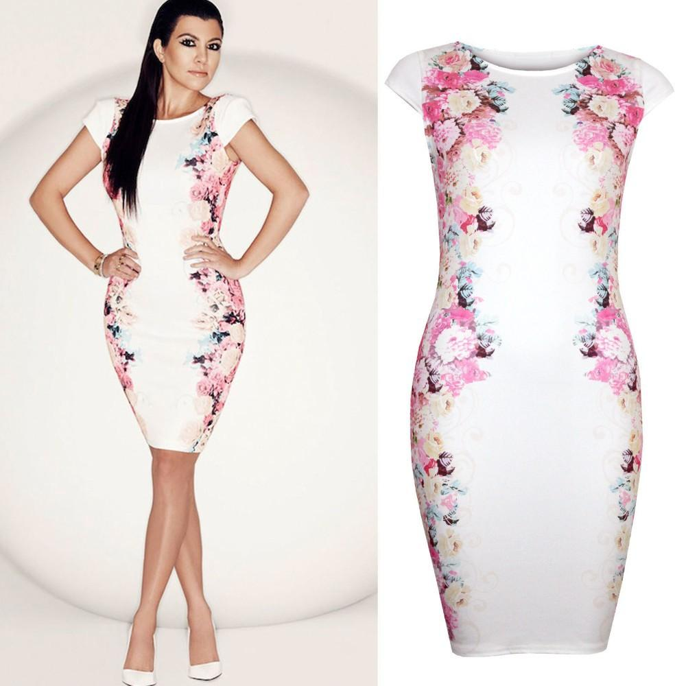 2014 New Women Summer Casual Dress Elegant Celebrity White Print ...