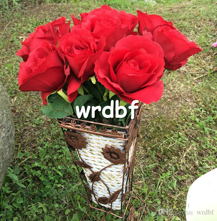 "NEW Silk Single Stem Sweetheart Rose 38cm/14.96"" Length Dia. 7cm/2.76"" 10P Artificial Flowers Roses Camellia for Wedding Centerpieces"