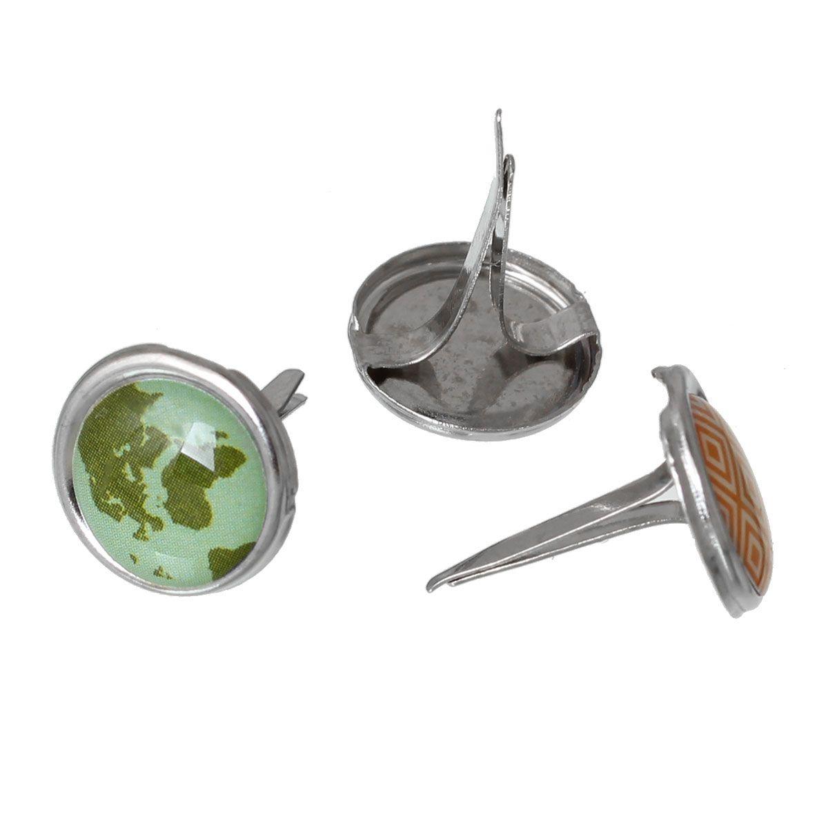 20 Adet Rastgele Renk Yuvarlak Metal Inci Sütyenler Reçine Scrapbooking Bezeme DIY Takı Aksesuarları 17x12.5mm