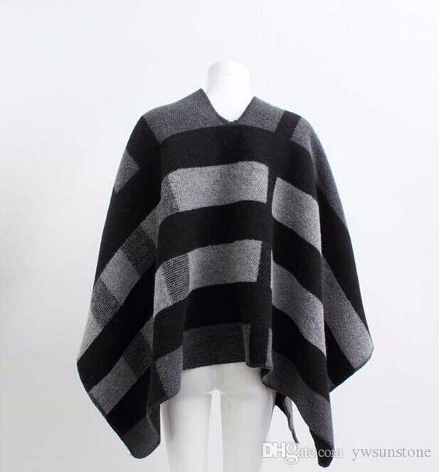 2017 NEW Fashion Women Oversize Cardigan Colour Check Blanket Poncho Wool Plain Cape For Lady