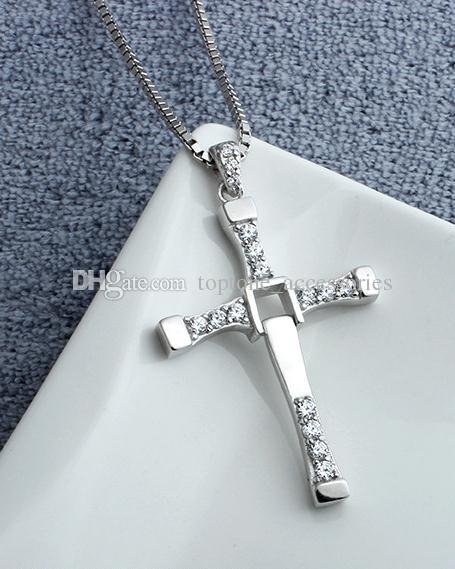 Men New 925 Sterling Silver Cross Pendant Choker Necklace Fast & Furious 7 Jewelry For wholesale