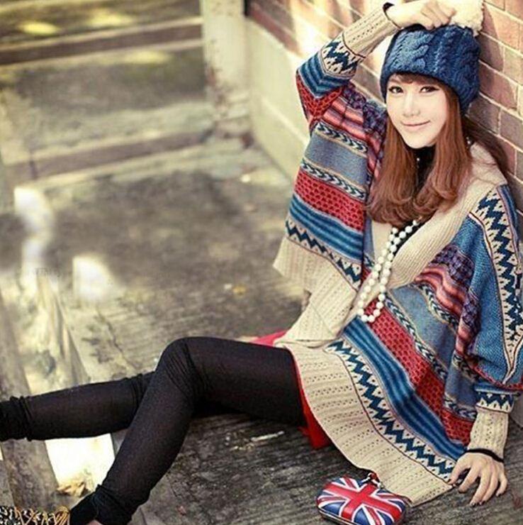 19d10a5b1 2019 Vintage Boho Ethnic Knitted Cardigan Kimono Tribal Print Batwing  Sleeve Oversized Cardigan Mori Girl Women Poncho Sweater Coat From  Eastgrace, ...