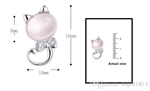 Cute Animal Kids Jewelry 925 Silver Rose Quartz Crystal Pink Cat Earrings and Necklace Set Children Jewelry Sets for Girls Gift