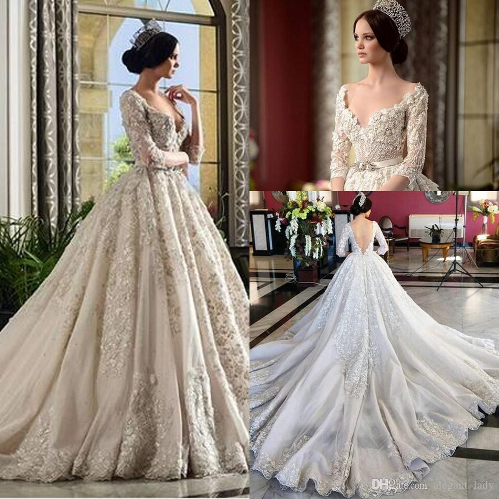 Floral Wedding Dress: 3D Floral Applique Ball Gown Wedding Dresses With Long